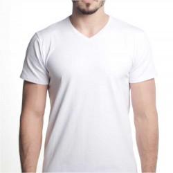 T-shirt Premium HOMEM - Branca - GOLA V - 150Gr