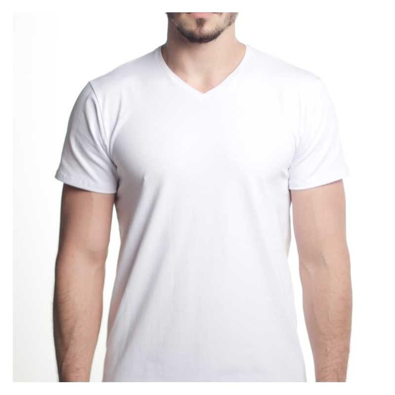 bbff3773a T-shirt Premium HOMEM - Branca - GOLA V - 150Gr