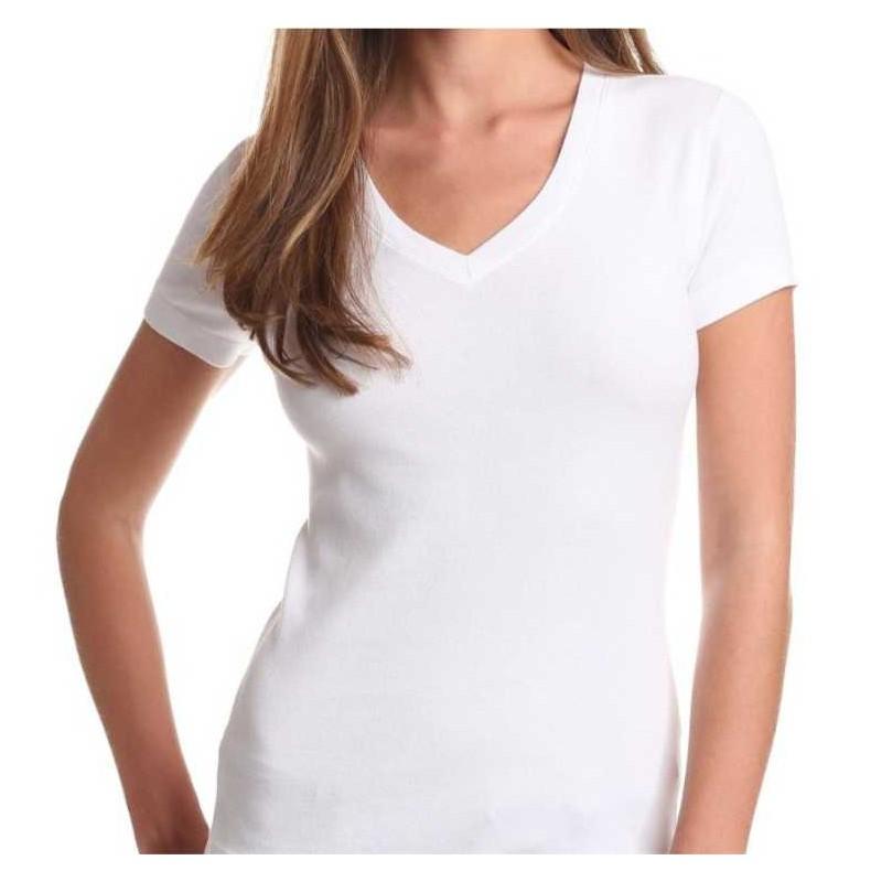 5d1f0d24b T-shirt Premium MULHER - Branca - GOLA V - 150Gr