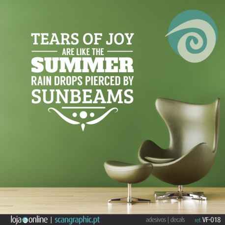 TEARS OF TOY ARE LIKE SUMMER RAIN DROPS PIERCE BY SUNBEAMS - ref - VF-018