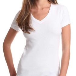 T-shirt Premium MULHER - Branca - GOLA V - 150Gr